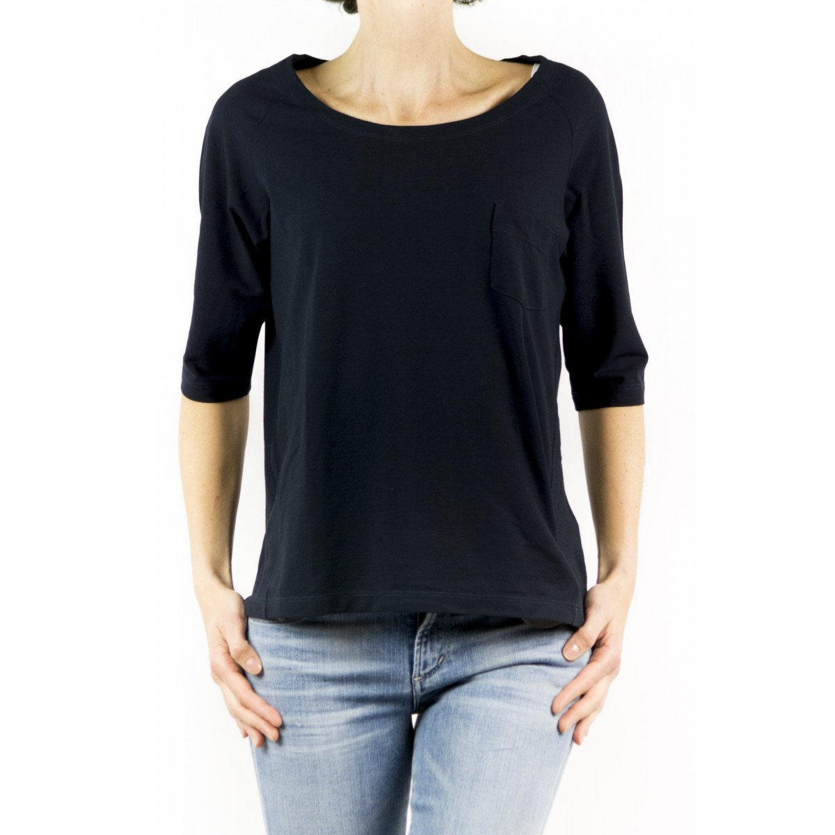 T-Shirt Zanone Woman - 851828 Z0480 T-Shirt Barca Taschino Manica 3/4 Ice Cotton Z0542 - blue navy