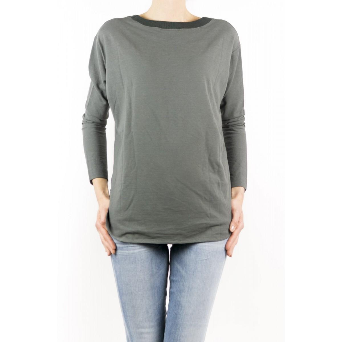T-Shirt Zanone Woman - 851651 Zy429 Collo Smacchinato Ice Cotton Z0914 - asfalto