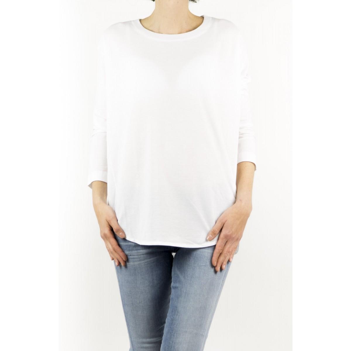 T shirt manica lunga Zanone - 851651 zy429 collo smacchinato ice cotton Z0001 - bianco