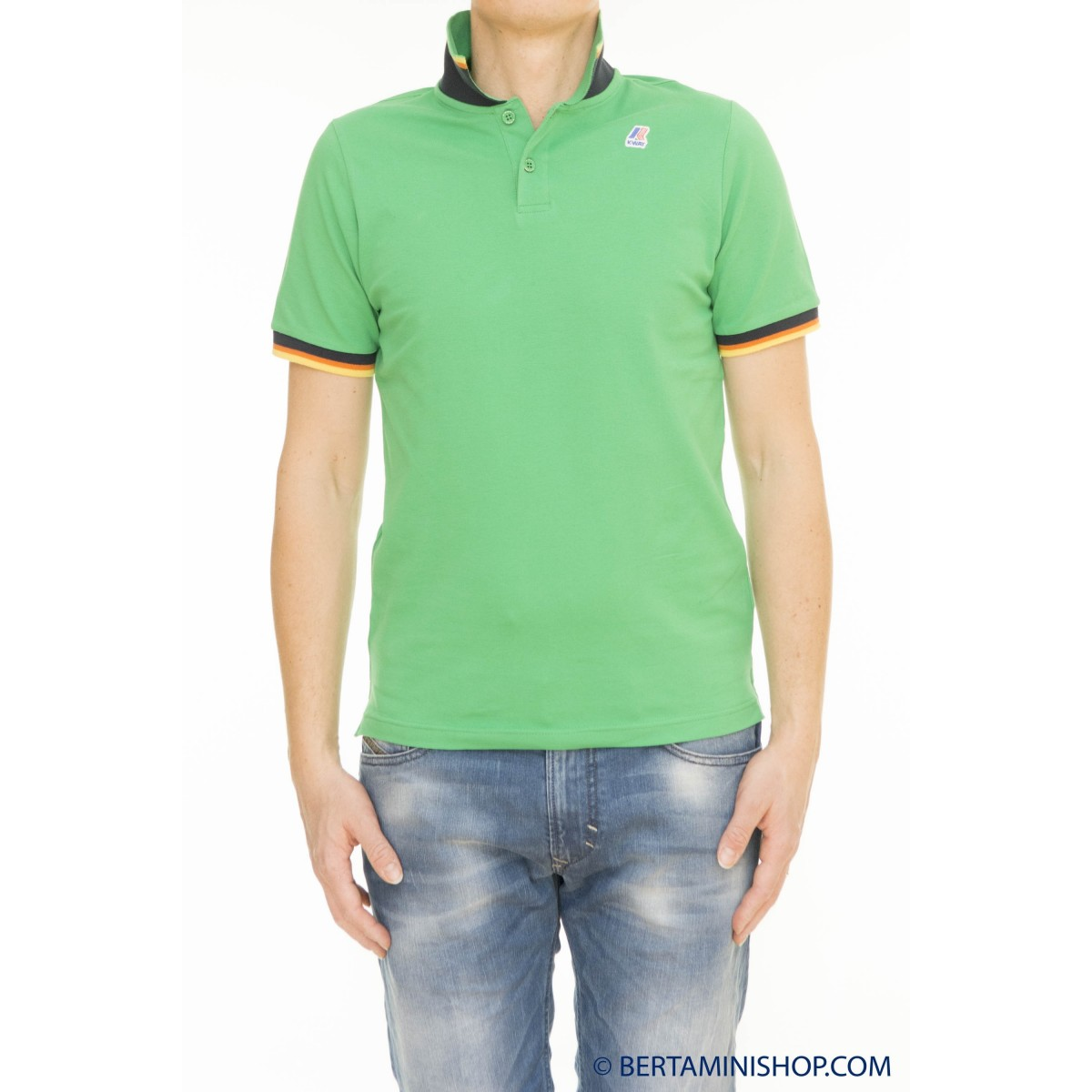 Polo manica corta uomo K way - Vincent contrast k0057r0 polo slim contrasto B21 - Kelly green
