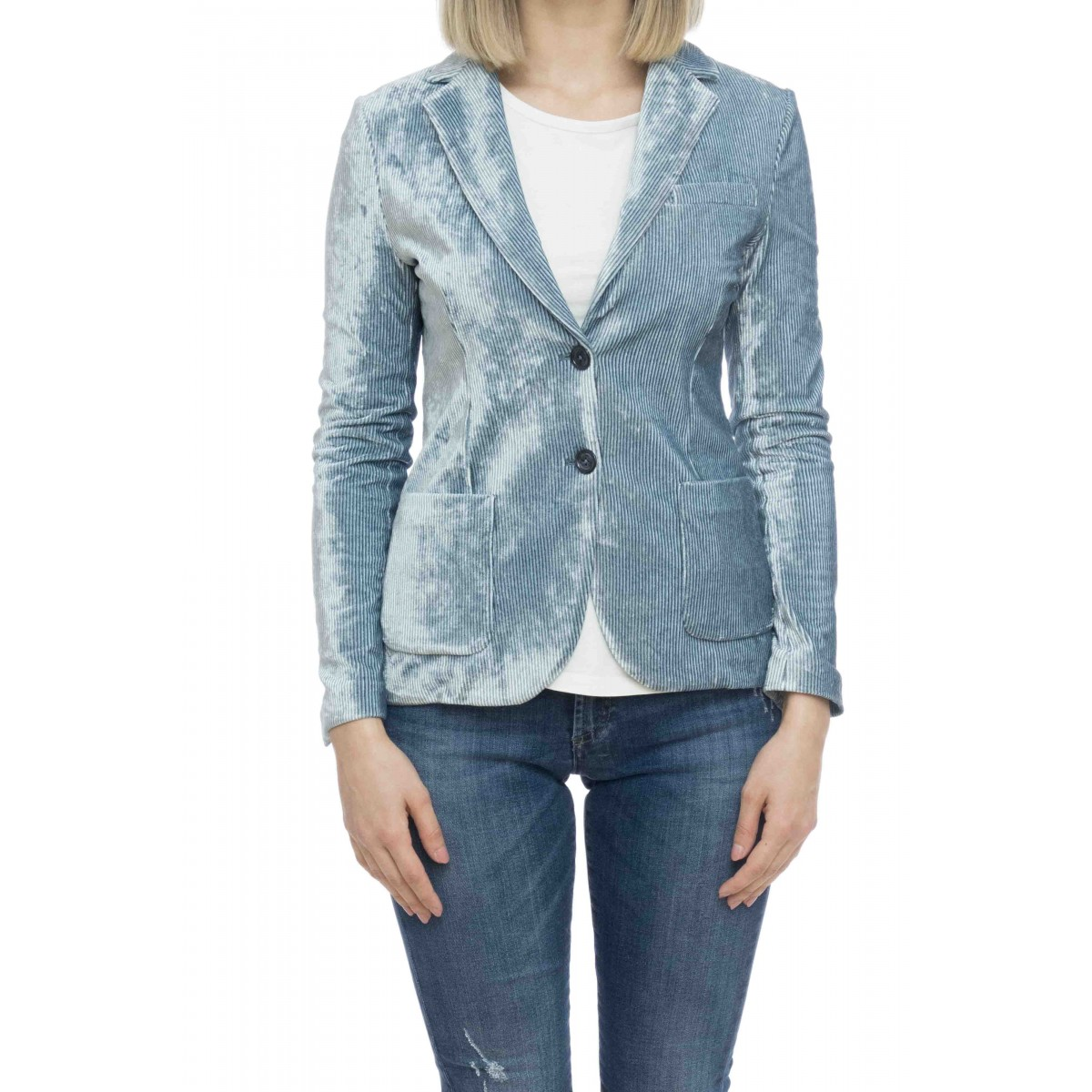 Giacca donna - Fd1343 giacca jersey velluto rigato