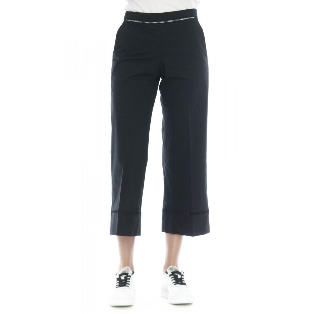 Pantalone donna - 2244 pantalone cotone strech ricamo a giorno