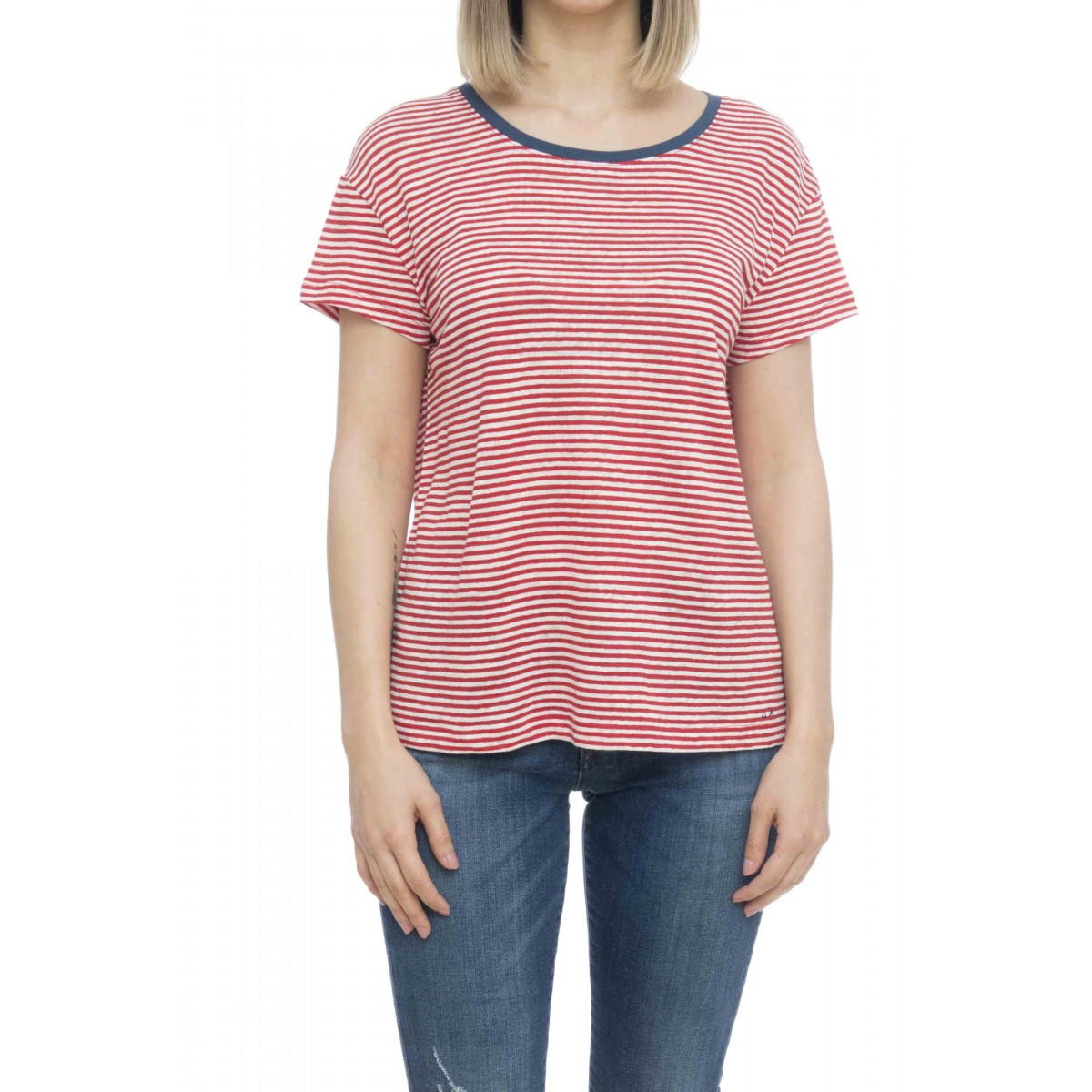 T-shirt donna - L19205 t-shirt lino over rigata