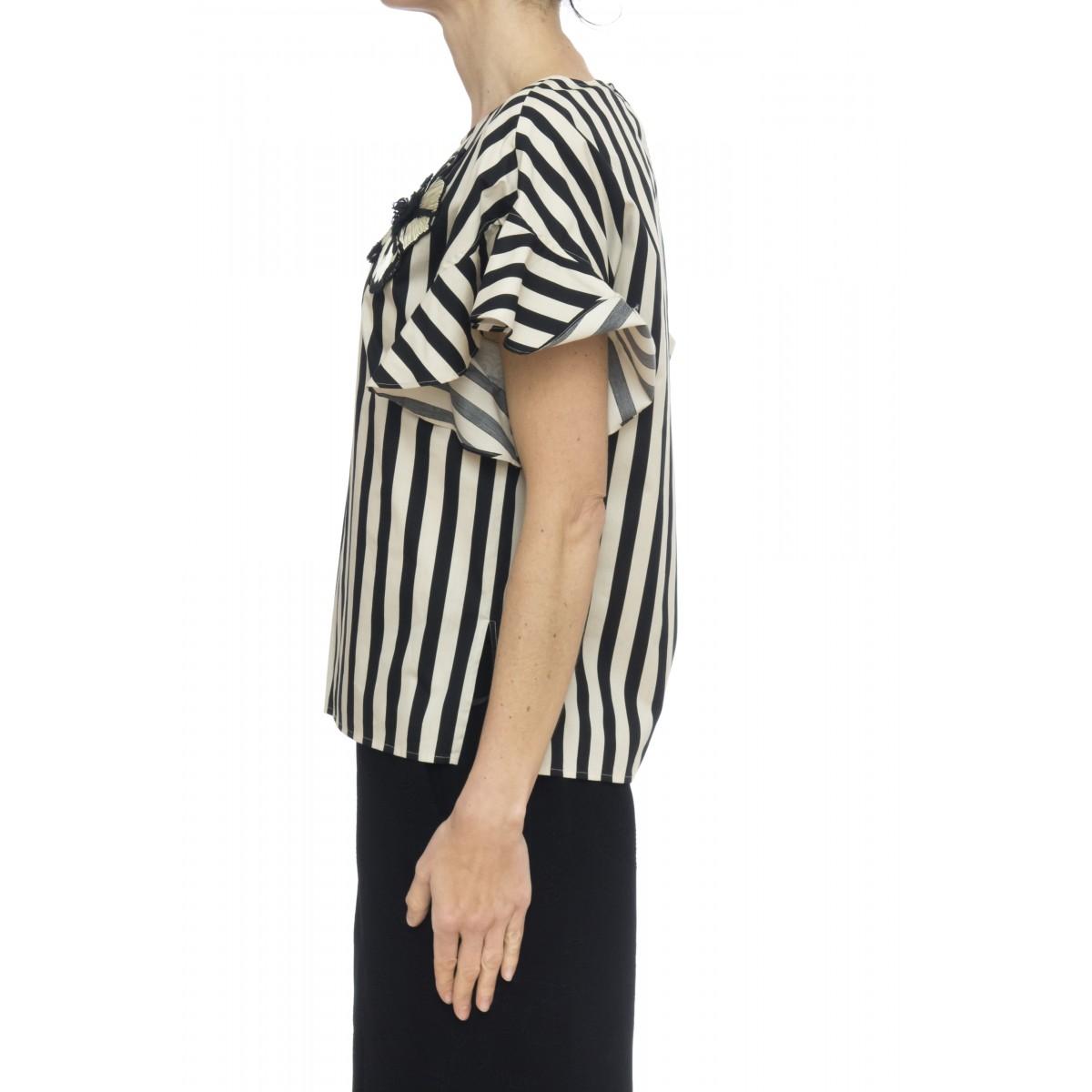 Camicia donna - 2283 camicia rigata con ricamo fiore