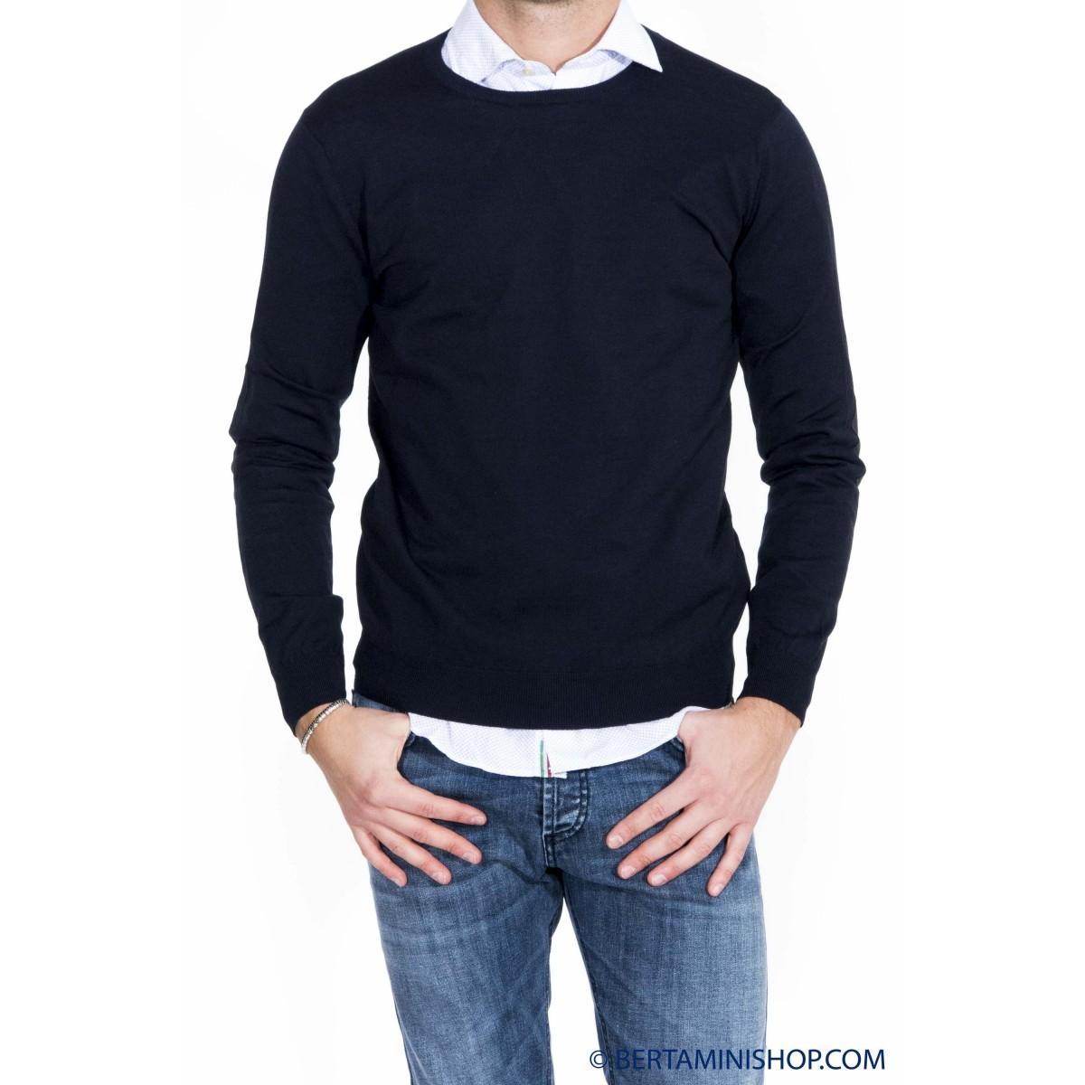 Maglia uomo Kangra - 1004/0101 maglia seta cotone con toppa