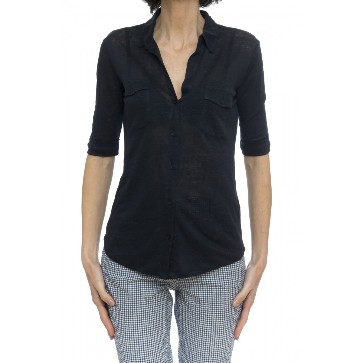 Camicia donna - J006 fch014 camicia manica corta 100% lino