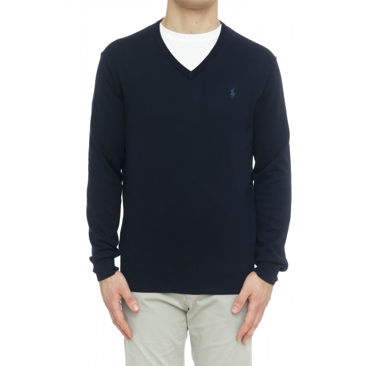 Maglia uomo - 670789 maglia cotone v slim