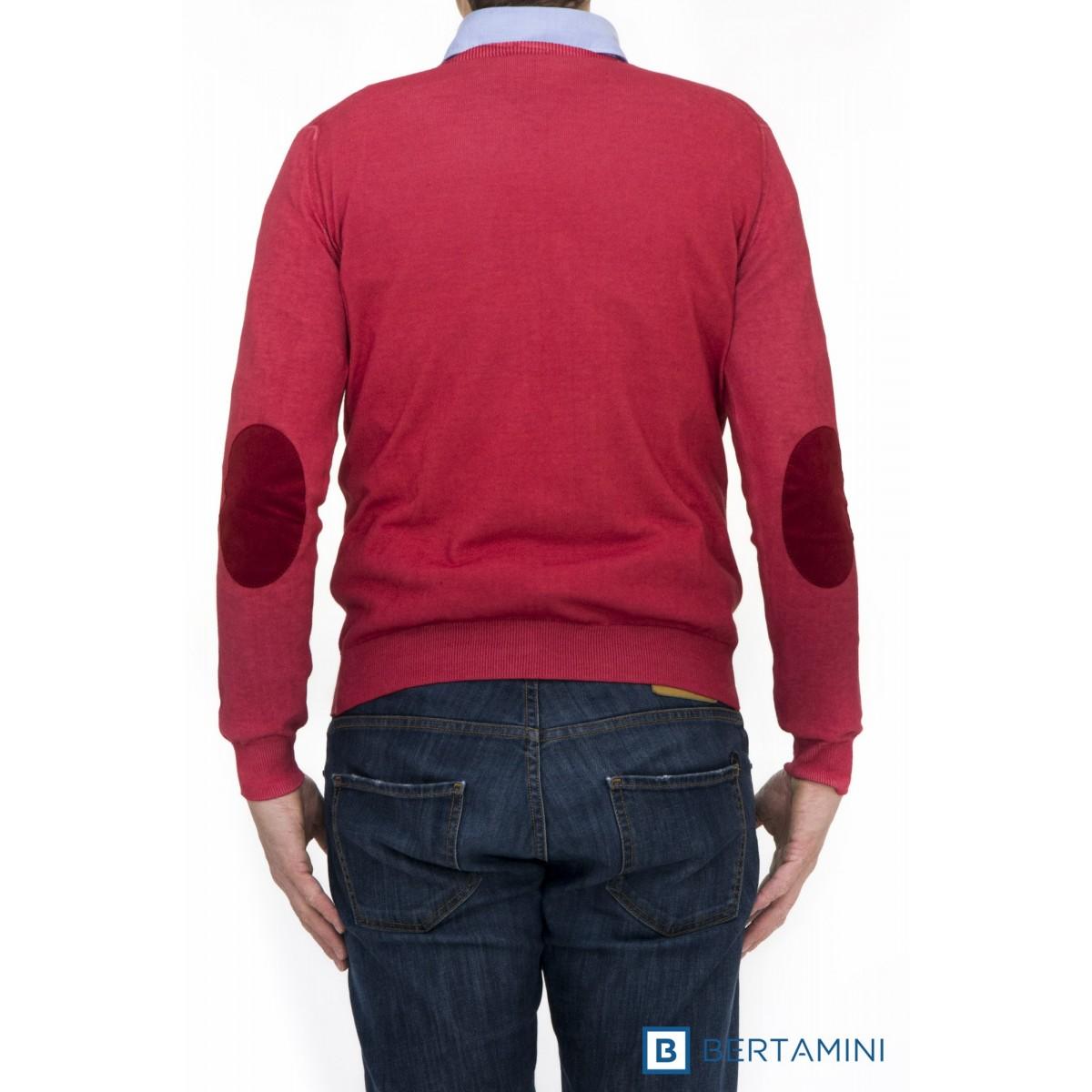 Maglia uomo Kangra - 1008/0101 maglia giro lavata toppa alcantara