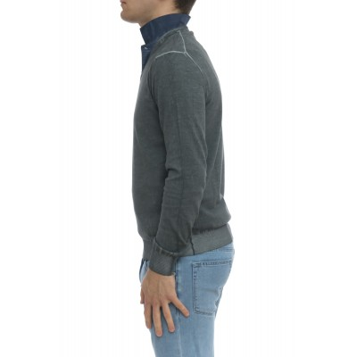 Maglia uomo - 2101/51f maglia scollo v lavata freddo