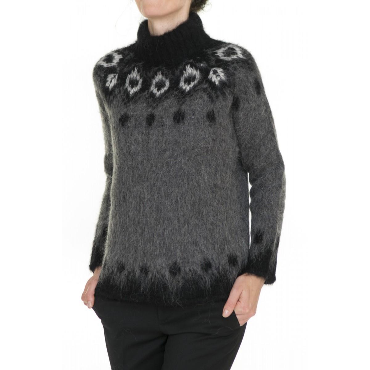 Maglia donna Kangra - 2800/05 maglia collo alto alpaca stampata