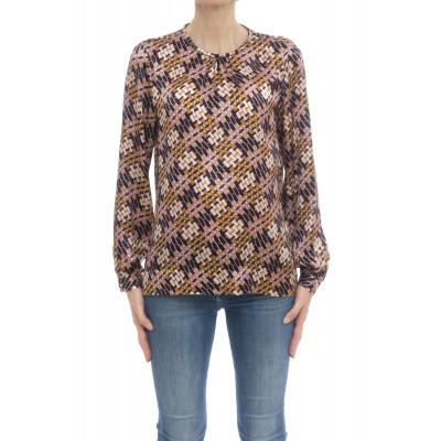 Camicia donna - Pmh z6m girocollo seta stampa