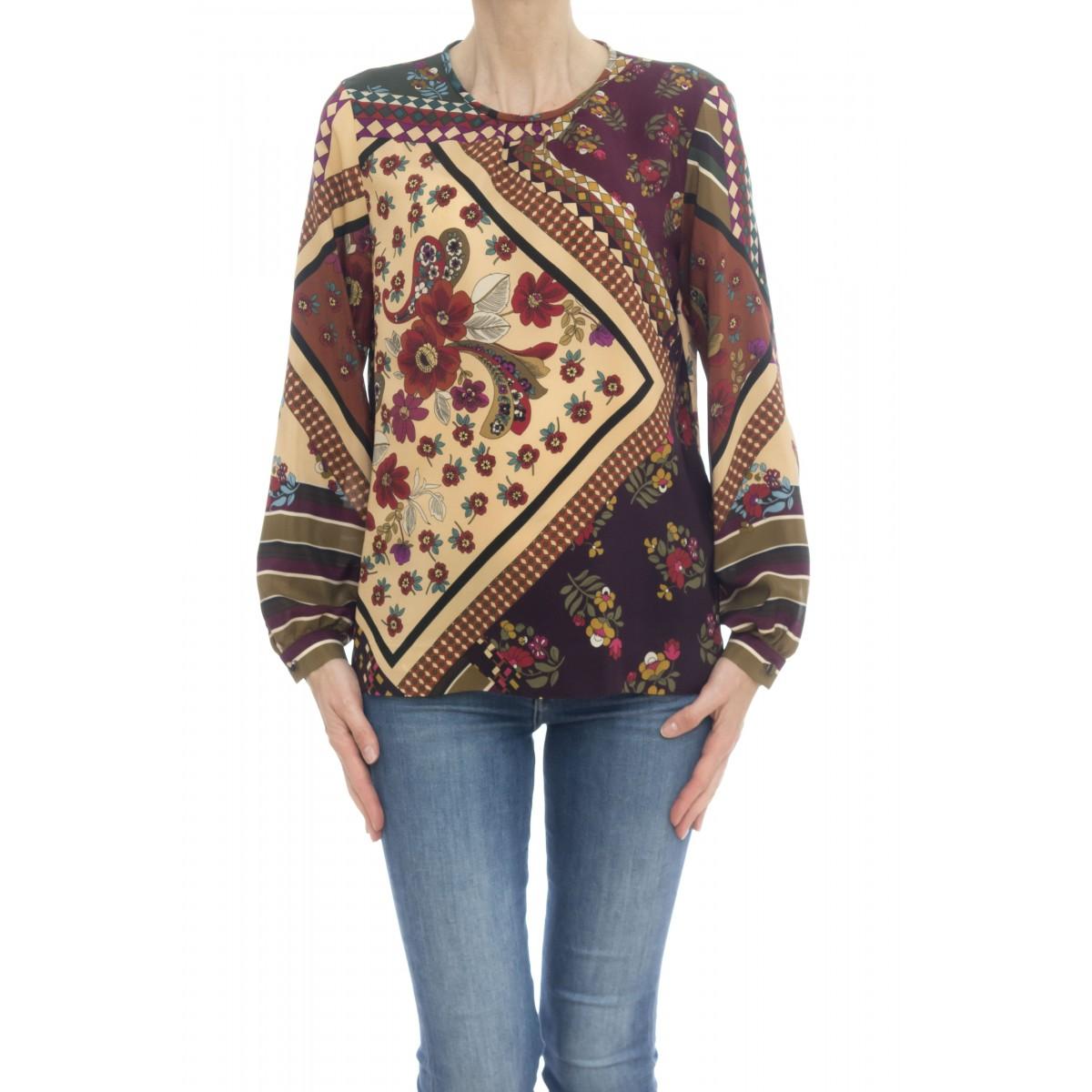Camicia donna - Pmh z8g camicia seta girocollo stampata