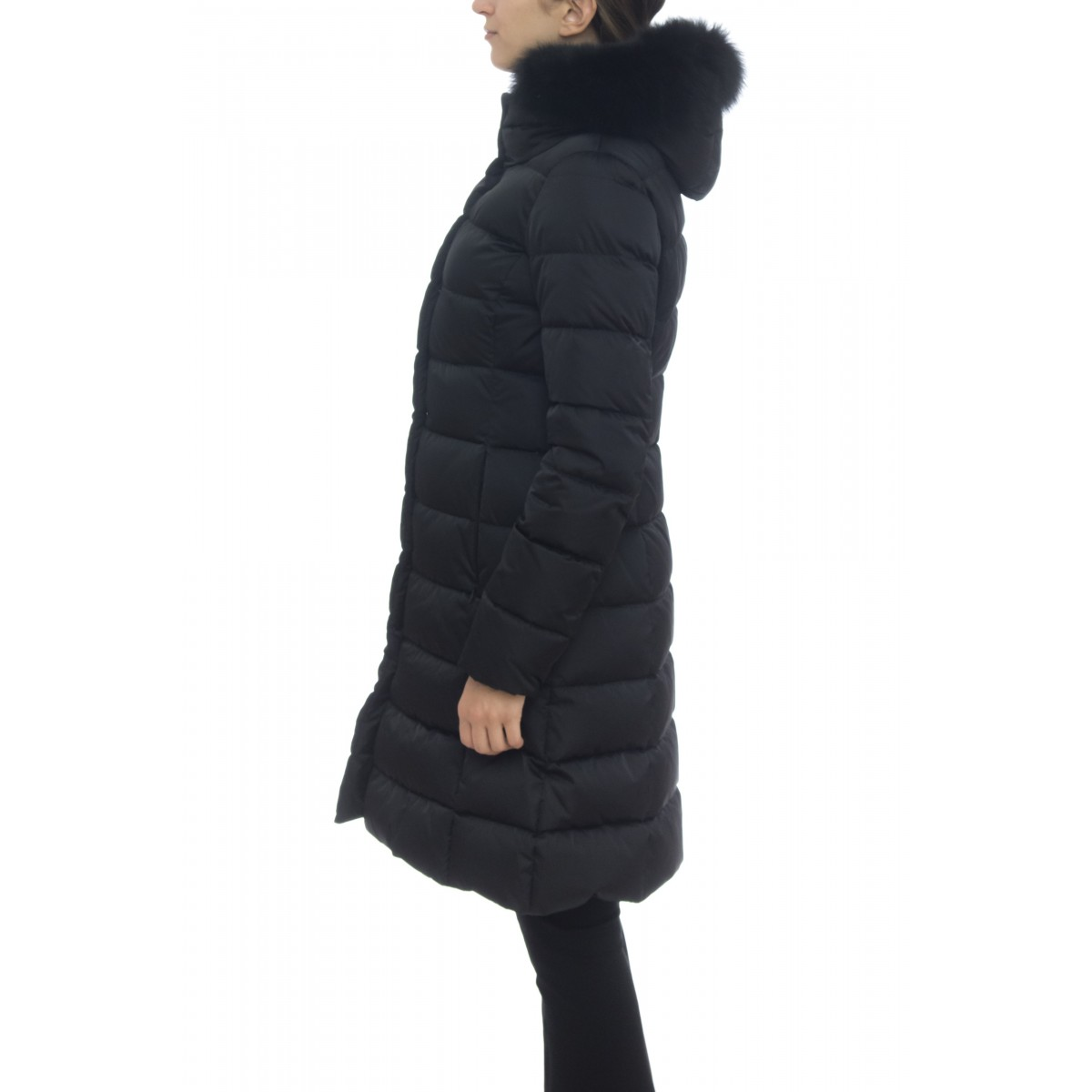 Down jacket - PI0987D 12170 long down jacket with fox fur