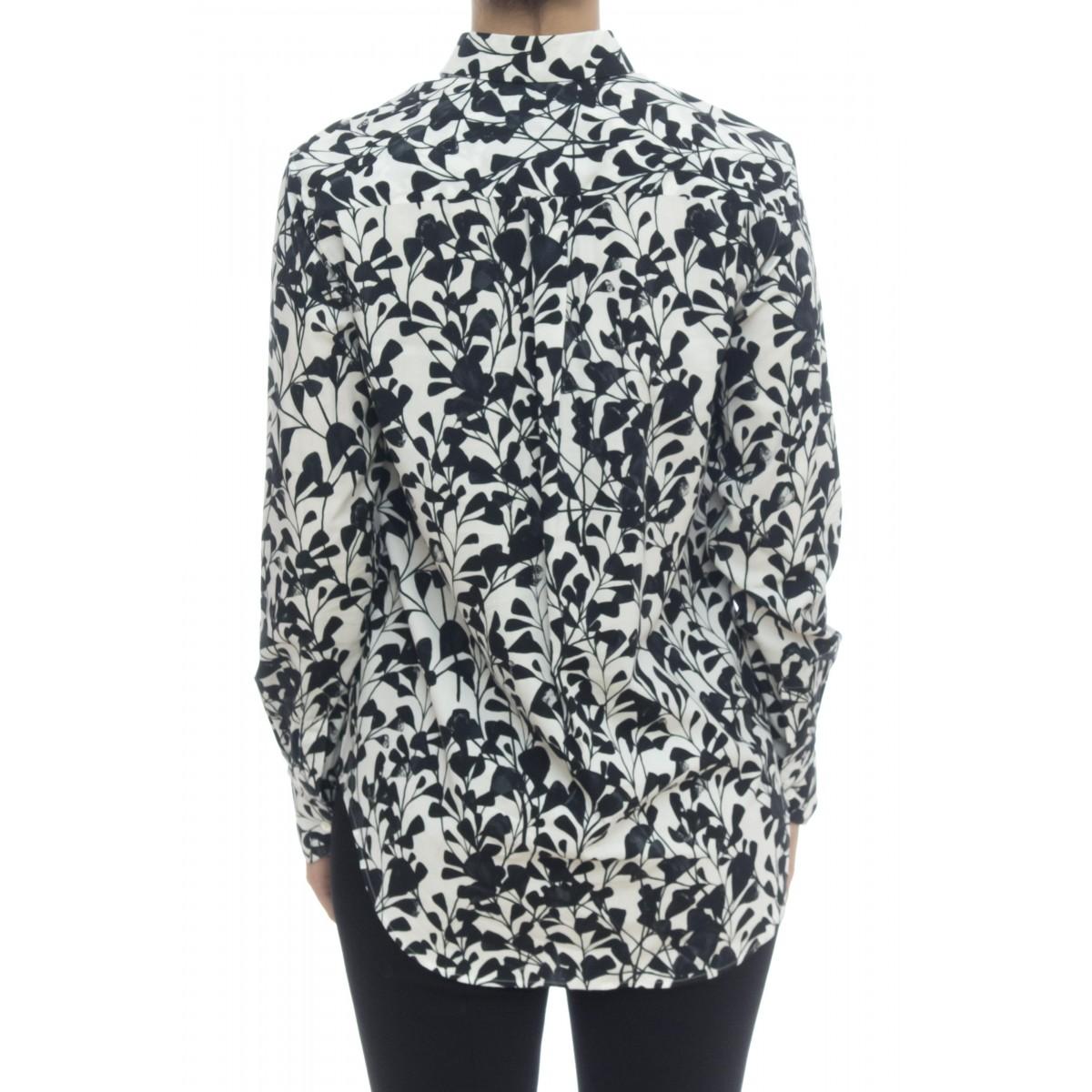 Camicia donna - 1107 55531 fiore bianco nero
