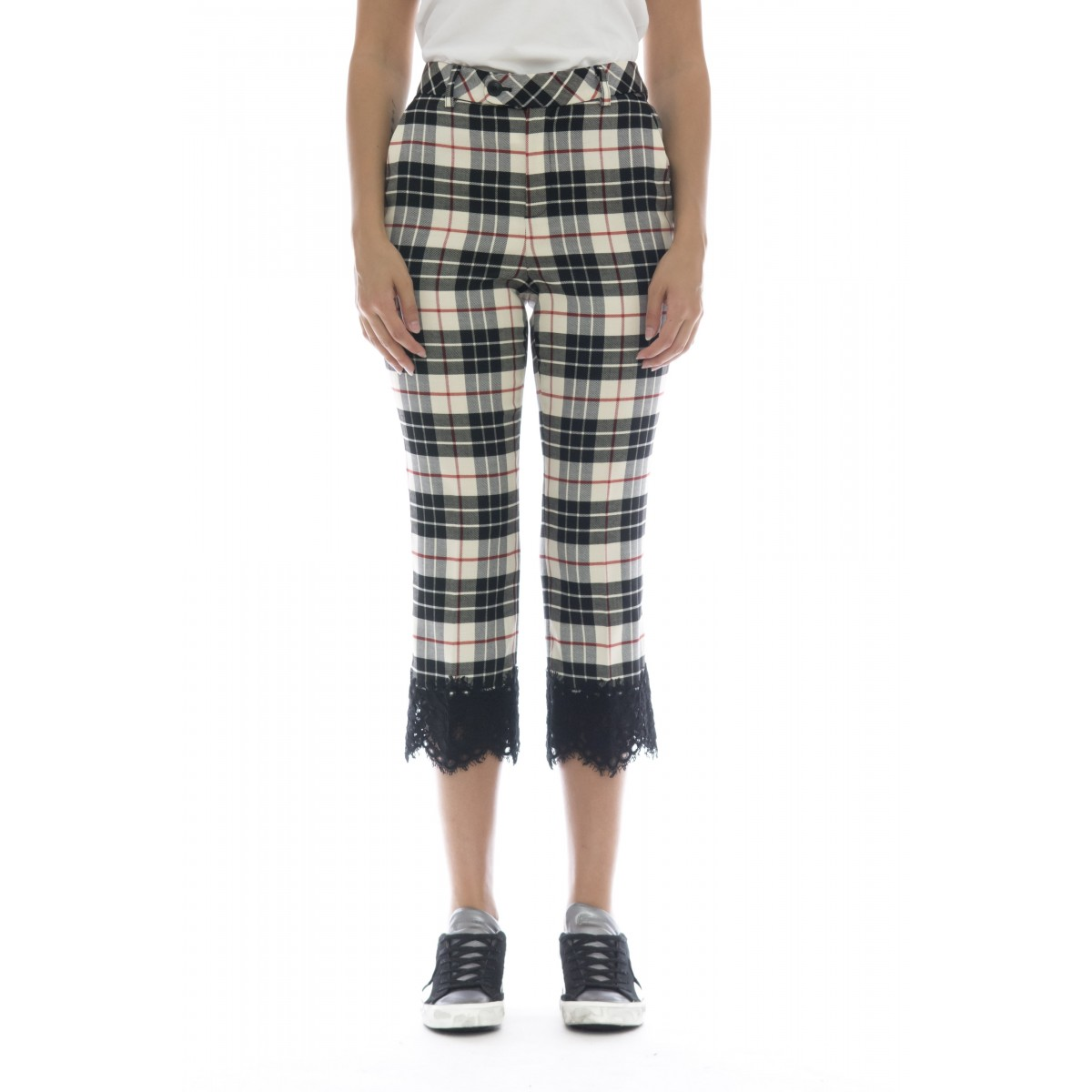 Pantalone donna - 2622 pantalone tartan + pizzo