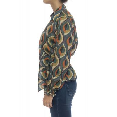 Camicia donna - Pmd z5u camicia incrociata stampa lurex