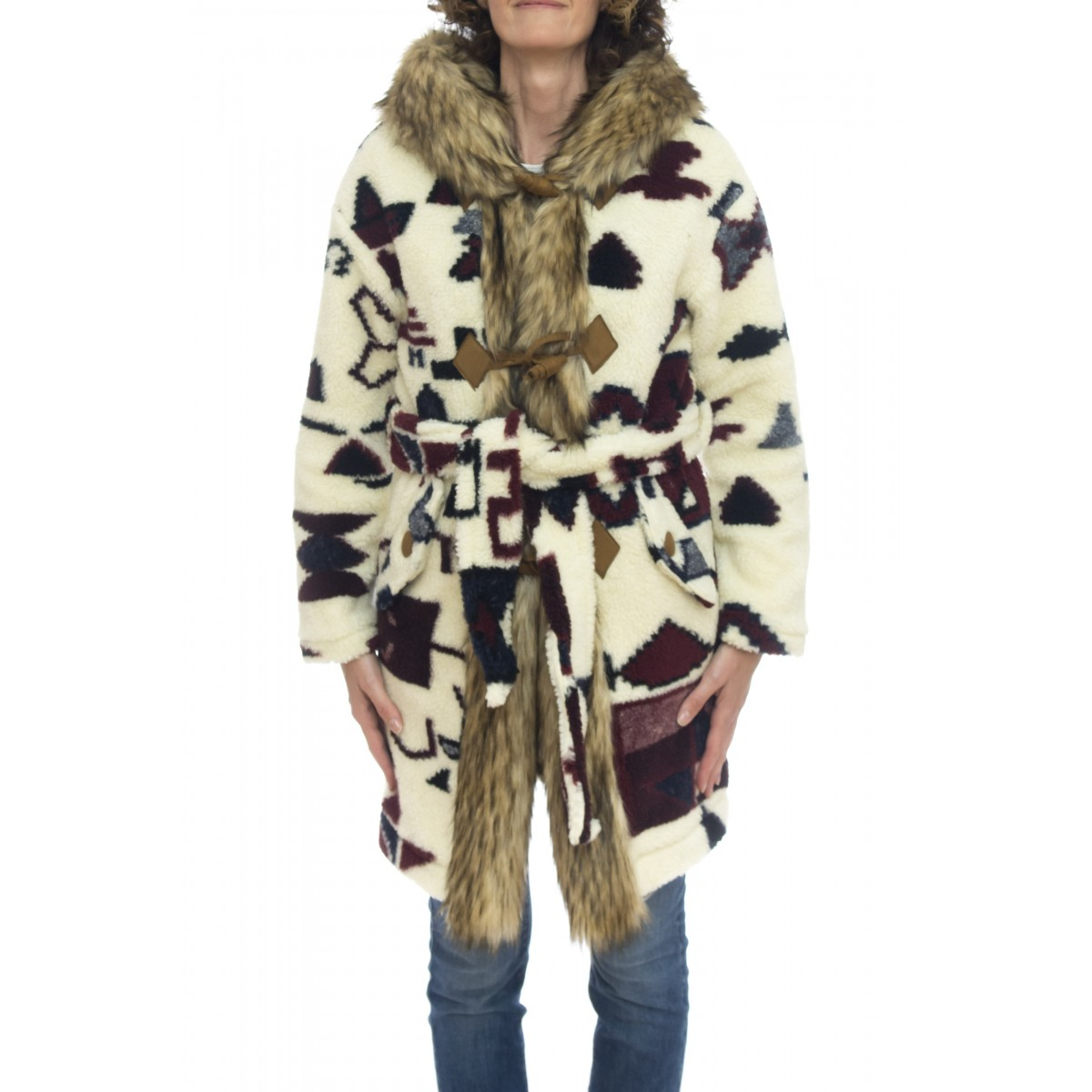 Cappotto - Pk06 cappotto stampa indios pelo ecologico