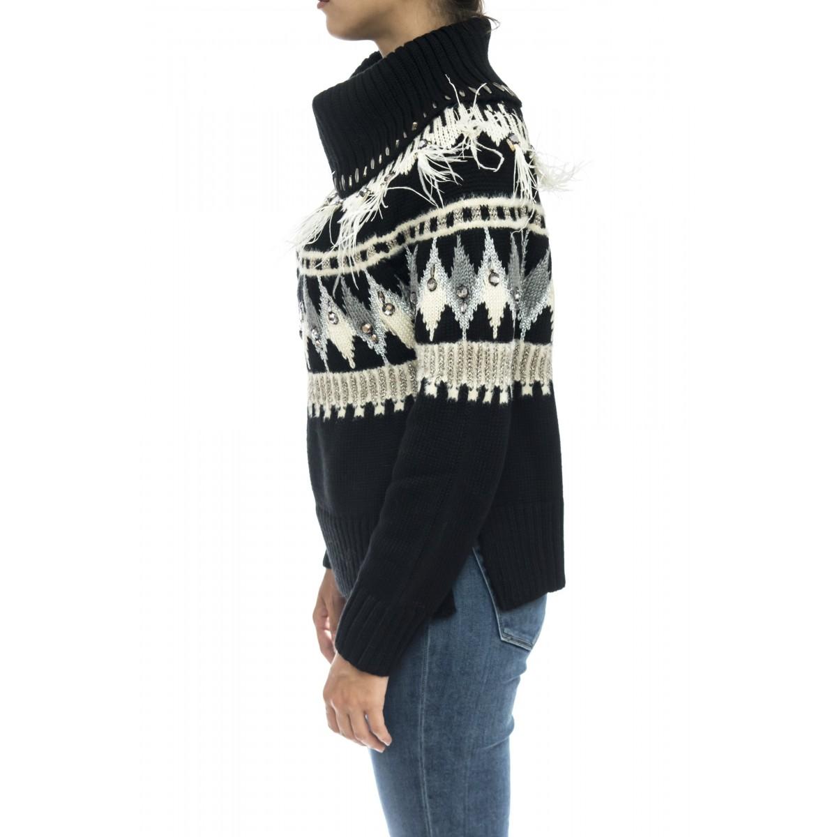 Maglieria - Tt3311 maglia ricamo swaroski piume marabu