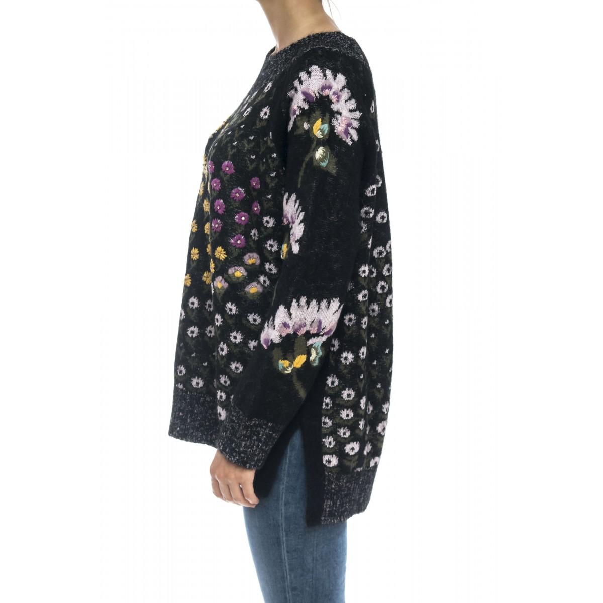Maglieria - Tt3240 maglia ricamata swaroski misto moer