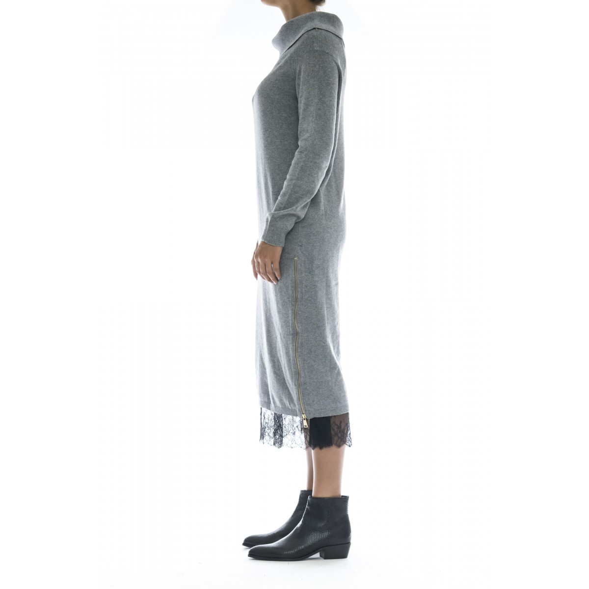 Vestito - Tt3091 vestito lana sottoveste pizzo