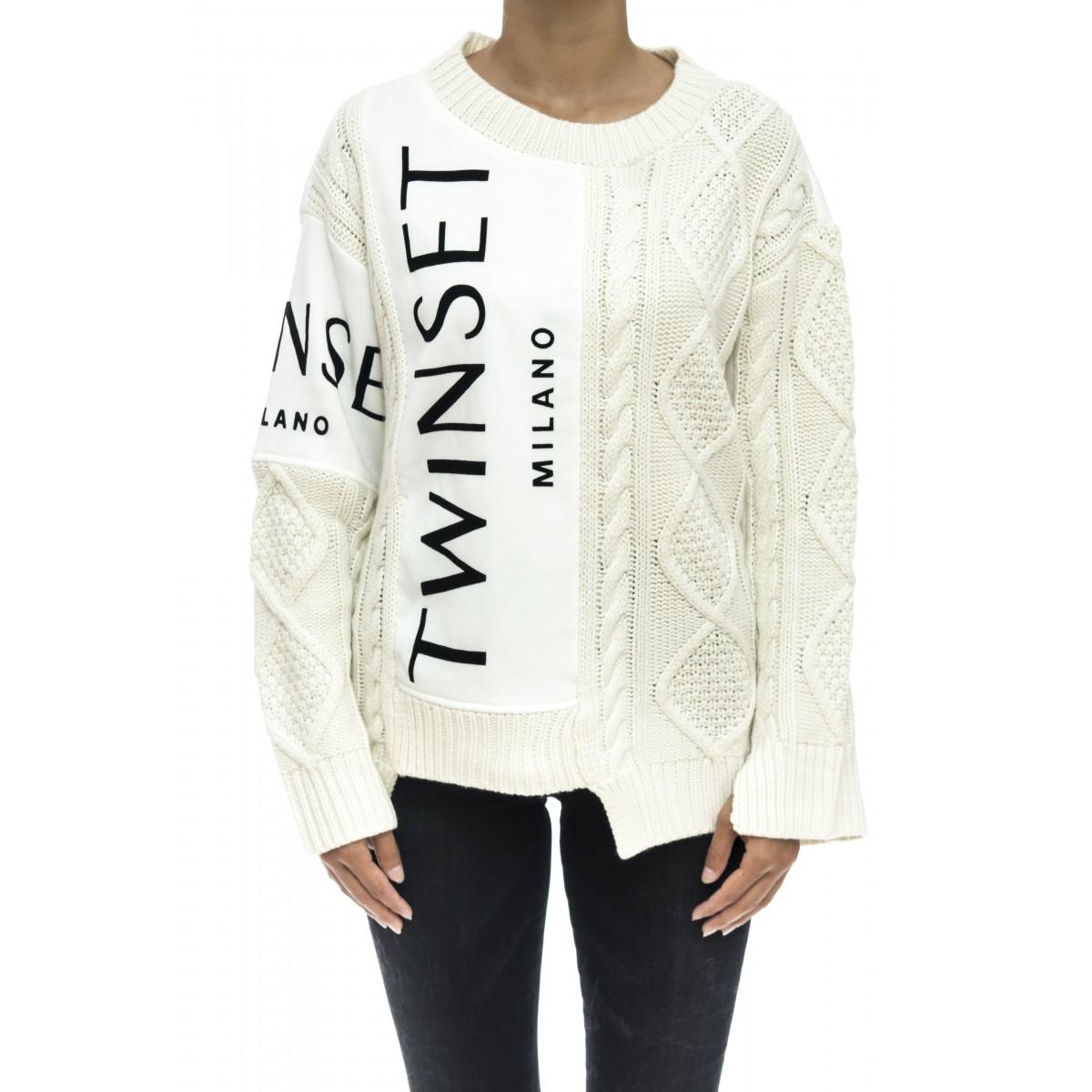 Felpa donna - Tt3060 felpa piu lana treccia logo