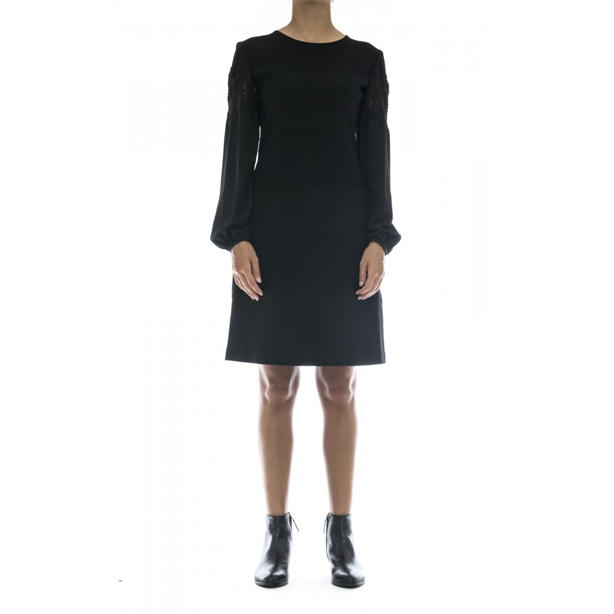 Vestito - Tt2211 abito punto milano piu pizzo