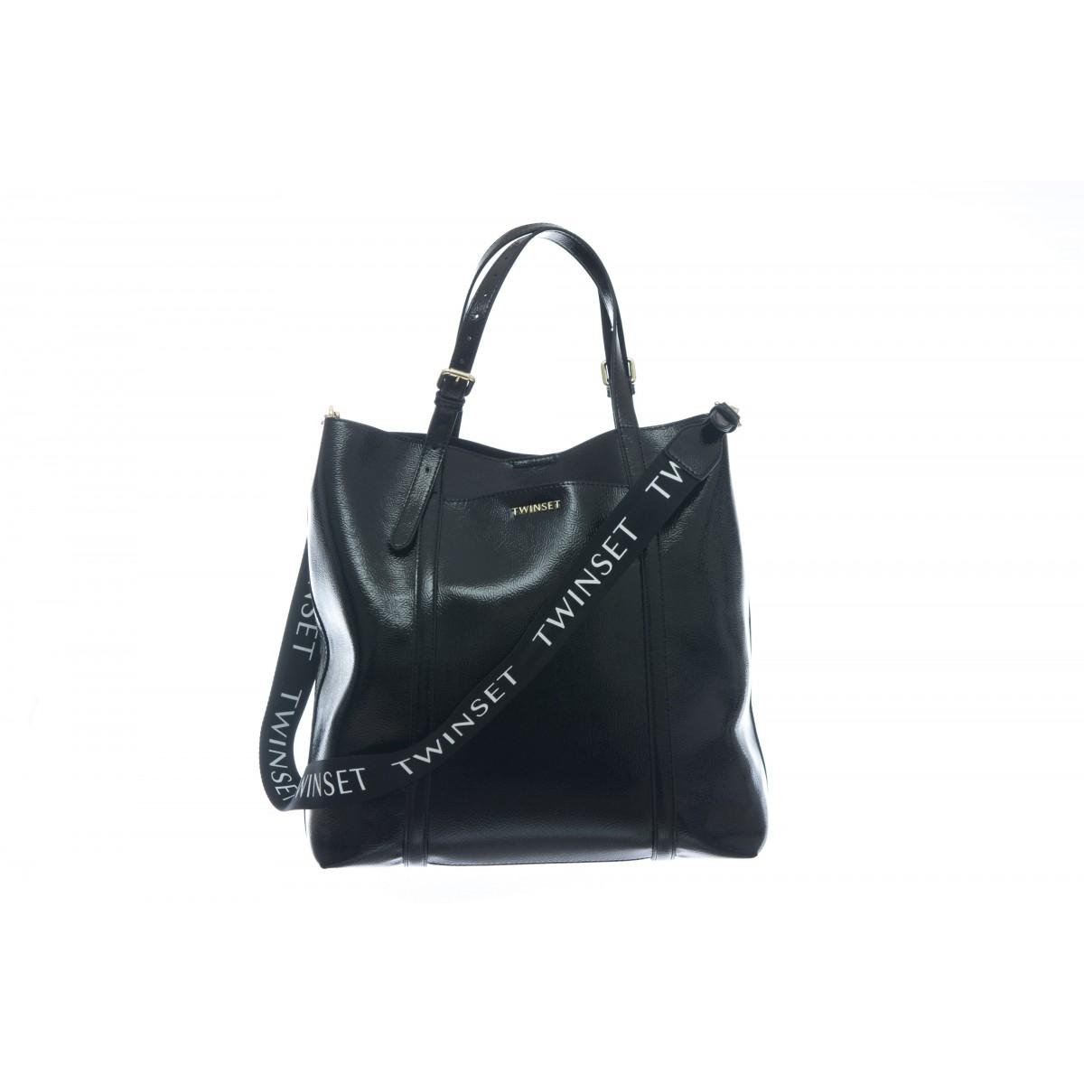 Borsa - To8151 borsa ecopelle effetto vernice tracolla logo