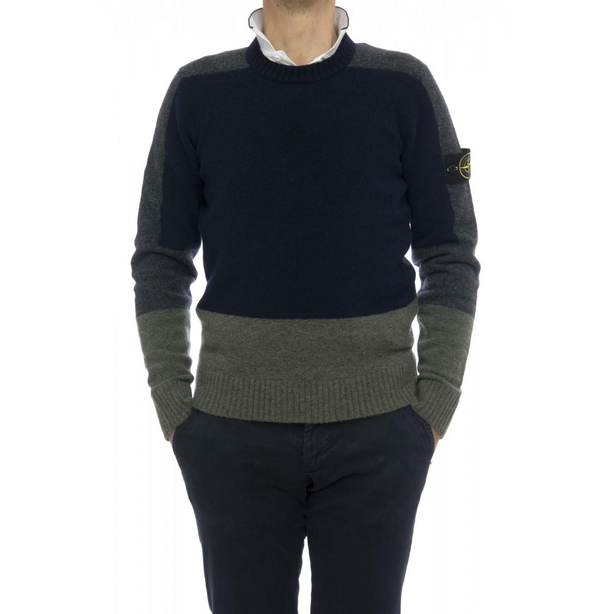 Maglia uomo Stone island - 589b1 maglia color block lana garzata