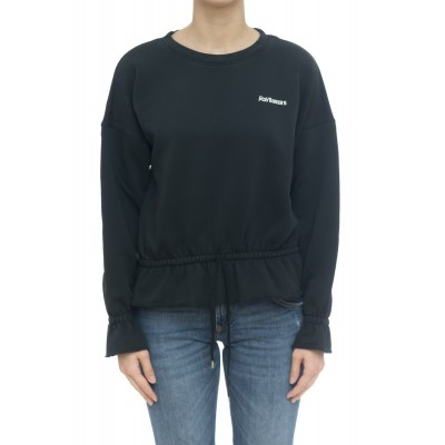 Felpa donna - Cropped coulisse sweater