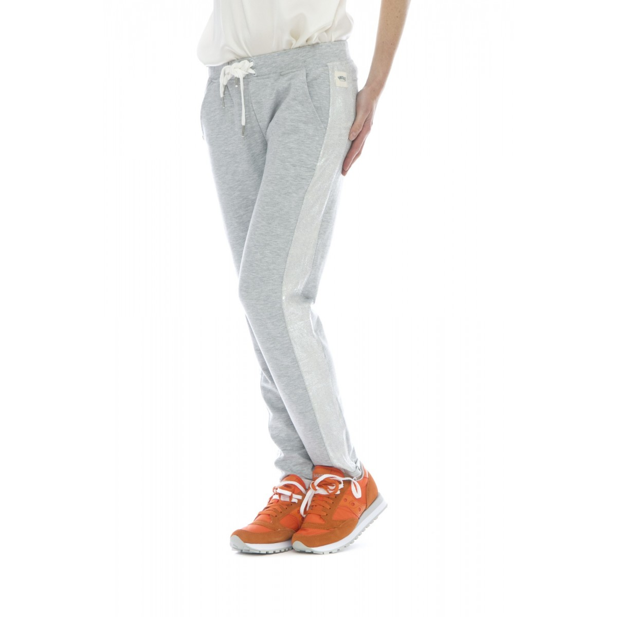 Pantalone donna - 528 fv05 pantalone jersey banda lurex