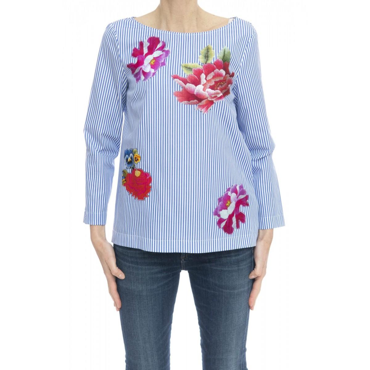 Camicia donna - 2042 camicia rigata con stampa