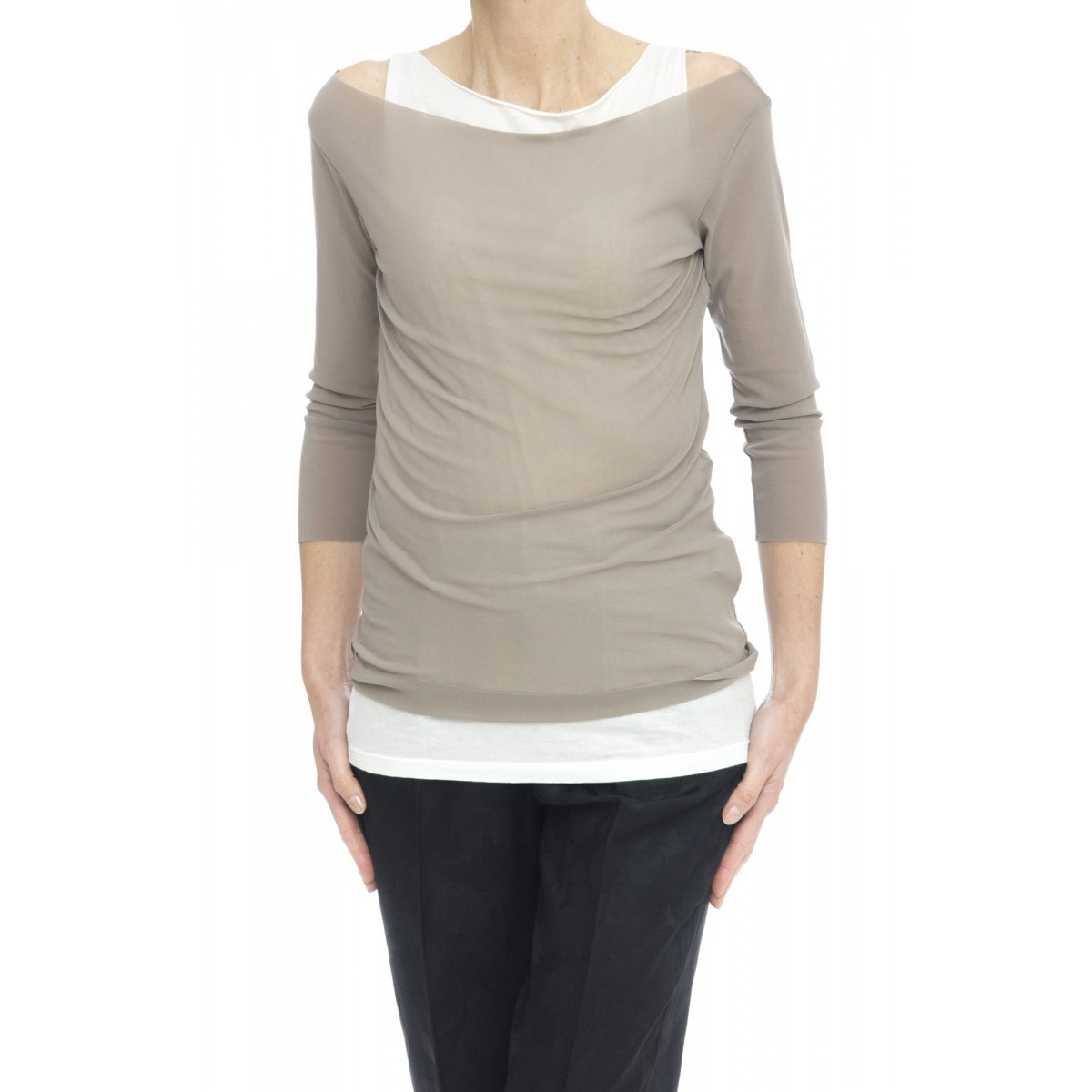 T-shirt - 17626 t-shirt doppiata con canotta