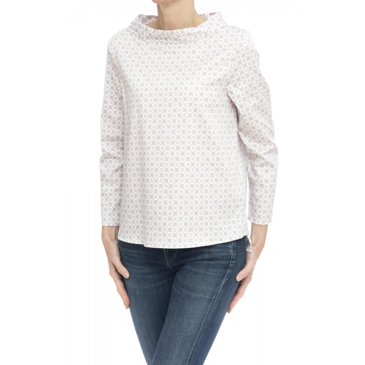 Camicia donna - Clara 85535 stampa su raso strech