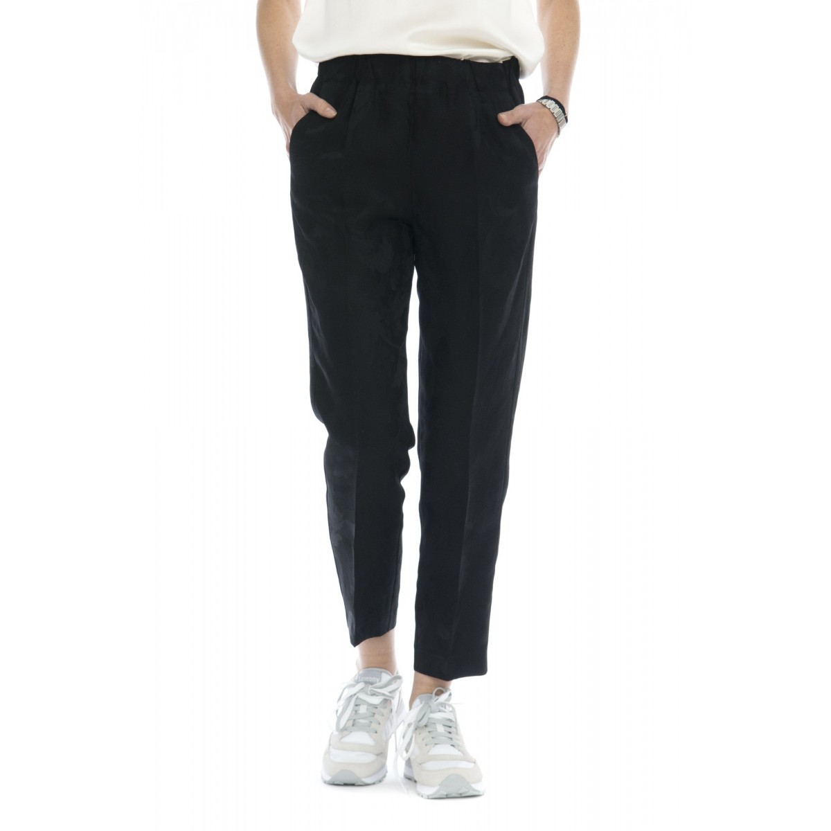 Pantalone donna - 4001 pantalone damascato elastico
