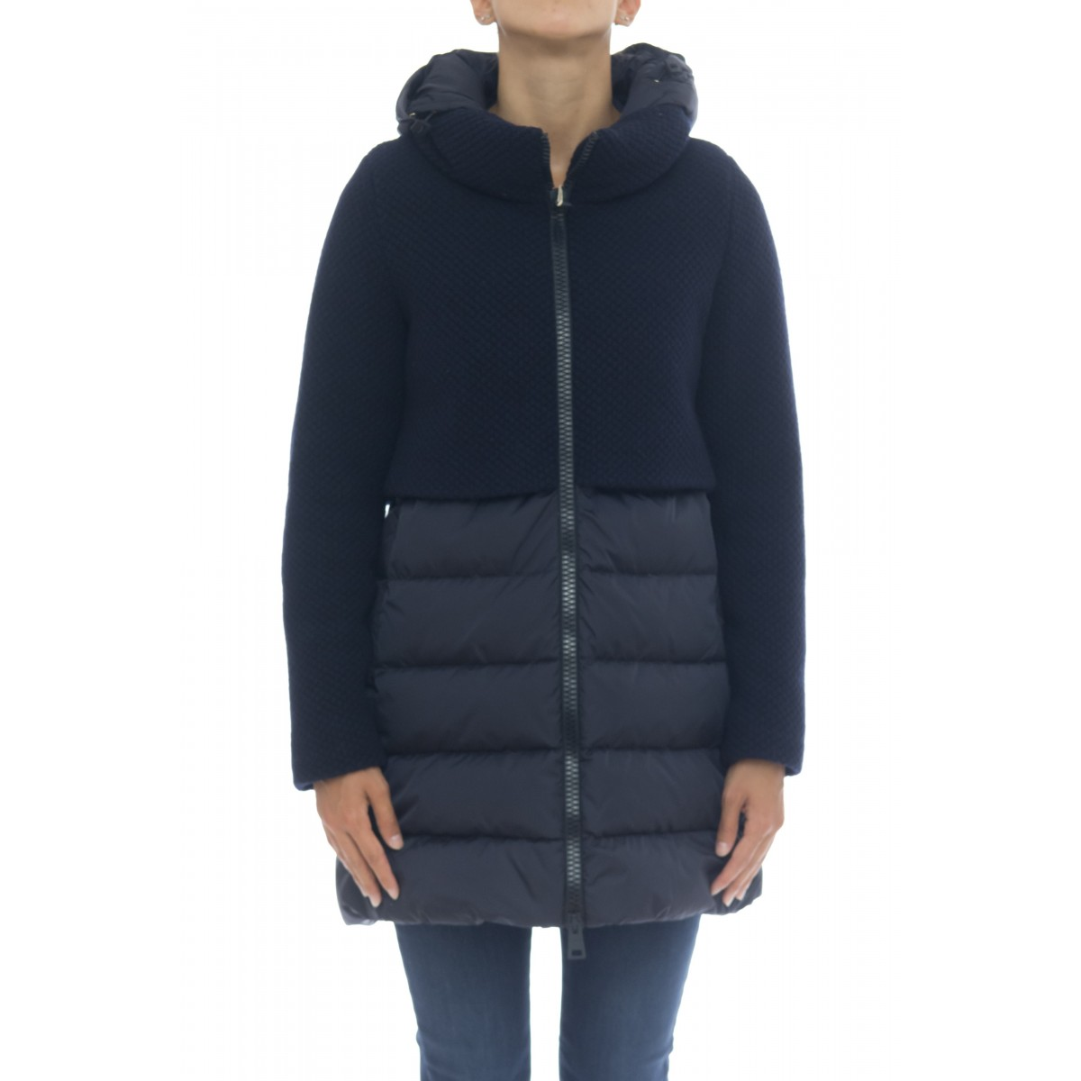 Woman Down Jacket - PI0822D 33220_ punto riso + nylon chamionx italy