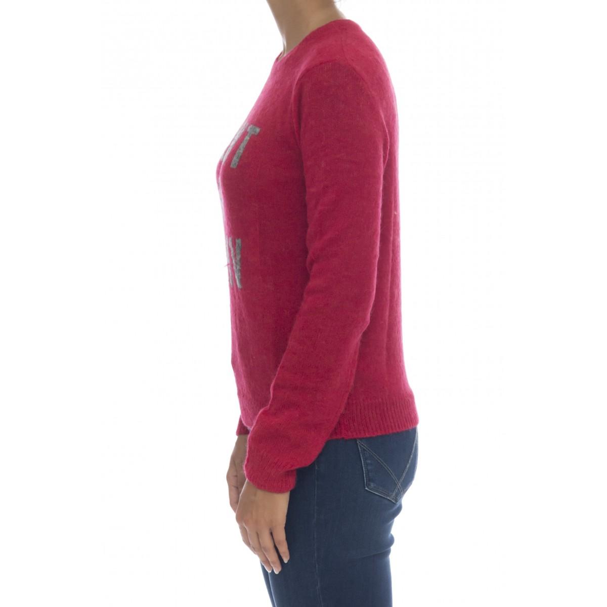 Maglieria - K40226 maglia lana scritta