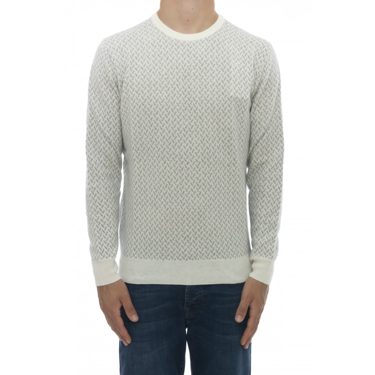 Maglia uomo - 1007/01 maglia giro fantasia 100% lana
