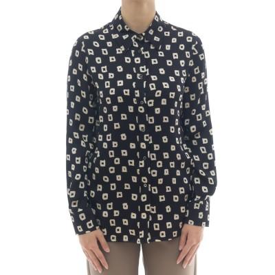 女性用シャツ-J2023 / Qスクエアプリントシャツ