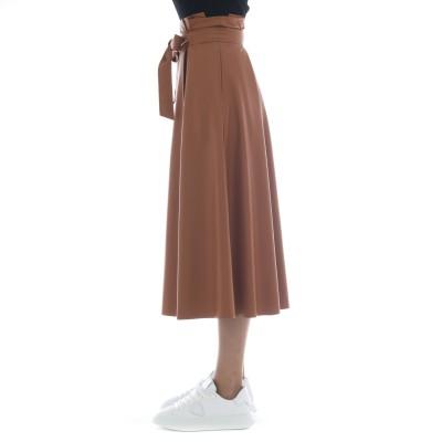 スカート-J5012エコレザースカート、ベルト付き