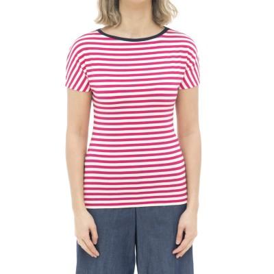 女性用Tシャツ-513j13ストライプTシャツ