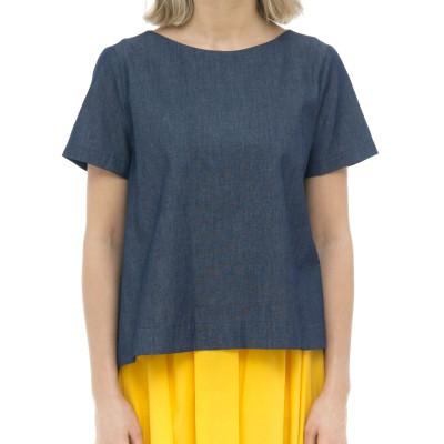 レディースシャツ-606t109シャンブレットジーンズシャツ