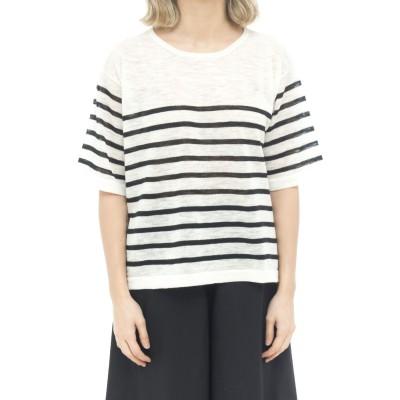 Tシャツの女性-18021ストライプのmcリネンTシャツ