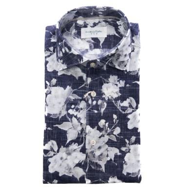 メンズシャツ-Njwrkdフローラルプリント55%リネ...