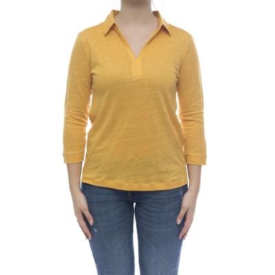 女性用半袖ポロシャツ-1303ナチュラルリネンポロシャツ