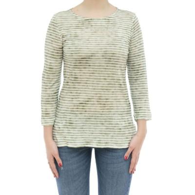 女性Tシャツ-Fts111m241ストライプリネンml