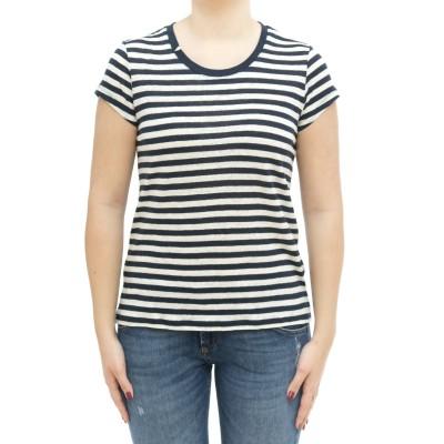 Tシャツの女性-L31207mcストライプリネンTシャツ