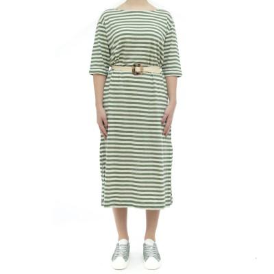 ドレス-ベルト付きL31208リネンストライプドレス