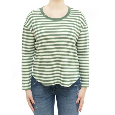女性Tシャツ-L31209ストライプリネンオーバー長袖...
