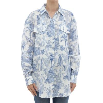 女性シャツ-Alodieプリントリネンシャツ