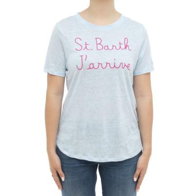女性用Tシャツ-スカーレットフレームリネンTシャツ